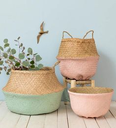 10 Good ideas for decorating wicker baskets Mode Pastel, Deco Pastel, Casa Retro, Belly Basket, Wicker Furniture, Wicker Baskets, Ikea Basket, Interior Design Living Room, Teak