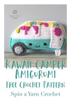 Kawaii Camper Amiguri A free crochet pattern from Spin a Yarn Crochet. Kawaii Crochet, Cute Crochet, Crochet Crafts, Easy Crochet, Crochet Projects, Thread Crochet, Crochet Yarn, Knitting Yarn, Diy Crochet Pillow