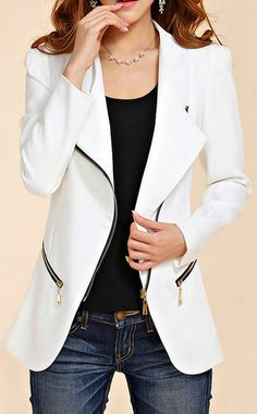 44% Off for Stylish Turn-Down Collar Solid Color Zip Embellished Long Sleeve Women's Blazer