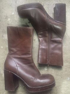 b92d7f8b428 vintage 90s STEVE MADDEN chunky LEATHER platform BOOTS 7 1 2 M short side  zip