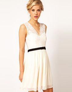 Image 1 of ASOS Scalloped Lace Skater Dress