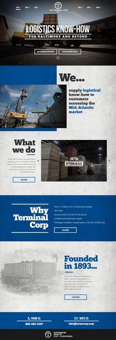 Website design for The Terminal Corporation Baltimore.