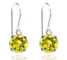 Yellow Single Crystal Drop Earrings - $9.80