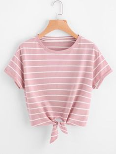 Knot Front Cuffed Sleeve Striped Tee