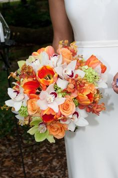 Gorgeous flowers in orange and green...