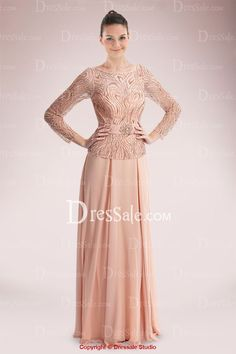 Glorious Long Sleeve Chiffon Mother of Bride Dress Featuring Beaded Bodice
