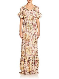 Diane von Furstenberg Jane Printed Ruffle Maxi Dress - Raisin - Size
