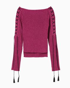 Boat Neck Lace-Up Knit - pink