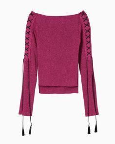Boat Neck Lace-Up Knit - pink