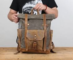 Waxed Canvas Backpack, Rucksack, Travel Backpack 8808 from Unihandmade Leather Studio Leather Duffle Bag, Brown Leather Backpack, Leather Backpack Pattern, Leather Briefcase, Leather Bags, Cow Leather, Backpack Travel Bag, Rucksack Backpack, One Shoulder Backpack