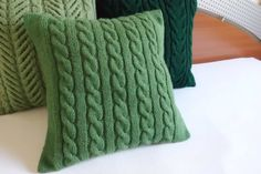 Light green hand knit cushion cover green cable by Adorablewares