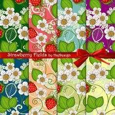 STRAWBERRY FIELDS - Digital Paper Scrapbook Paper Decoupage Paper Digital Collage Sheets
