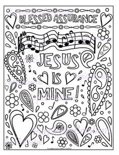 "Color with a song in your heart!Coloring Page ""Blessed Assurance"" Hymn Coloring PageBlessed Assurance, Jesus Is Mine! Perfect for Homeschool, Sunday School, VBS, or ANYBODY to color!This is a wonderful way to forget about the worries of the day and just concentrate on who God is!!Please note that the page you are purchasing for download will be strictly BLACK and WHITE and will not contain the PurpleBee watermark :)I personally put the time and effort into creating the art on this coloring…"