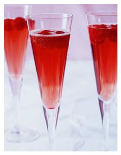 Raspberry Bellini  1 tablespoon raspberry syrup  4 ounces chilled Prosecco  fresh raspberries    To prepare the syrup, puree one 6 oz. container of fresh raspberries with 2 tablespoons of sugar and 2-3 tablespoons of water in a food processor and strain to remove the seeds.     Place 1 tablespoon of raspberry syrup into a champagne flute.  Pour in the chilled Prosecco and stir gently. Garnish with fresh raspberries and serve.