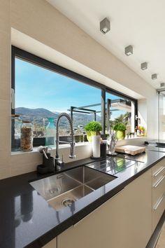 Most Noticeable Awesome Kitchen Window Design 24 - homevignette Kitchen Room Design, Modern Kitchen Design, Home Decor Kitchen, Interior Design Kitchen, Home Kitchens, Modern Kitchens, Kitchen Ideas, Minimalist Window, Stair Decor