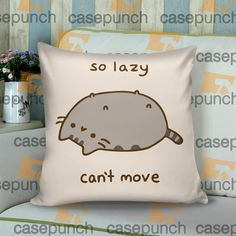 Sr4-pusheen Cat So Lazy Can't Move Cushion Pillow Case