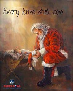 Santa kneels to Jesus