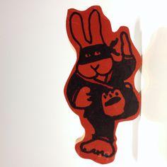 Ninja Bunny original wood cutout by doodleslice on Etsy $20