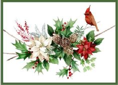 christmas cardinal poinsettias,pinecones  Victoria Nelson