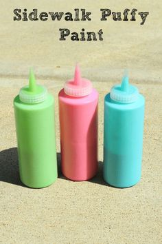 DIY Sidewalk Puffy Paint. A summer art activity for kids!  They will love playing outside with this easy and mess free puffy paint!