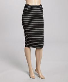 Another great find on #zulily! Black & White Double-Stripe Midi Skirt #zulilyfinds