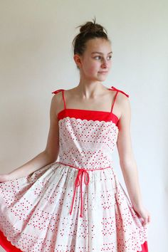 50s+dress+++red+dress+with+white+eyelet+by+QuinceVintage+on+Etsy,+$110.00