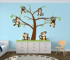 nursery tree decal with monkeys nursery decor by newyorkvinyl 5200 - Monkey Bedroom Decor