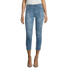 Jen7 Lasered Rose Printed Cropped Skinny Jeans ($179) ❤ liked on Polyvore featuring jeans, modern collecti - denim, 5 pocket jeans, zipper jeans, rose jeans, blue skinny jeans and cropped skinny jeans