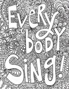 singing poster, everybody sing poster, vocal singing, music coloring poster