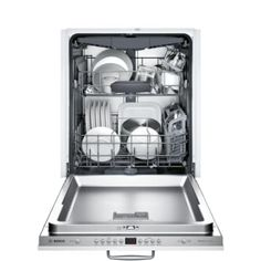 Bosch 800 Series Top Control Tall Tub Bar Handle Dishwasher in Stainless Steel with Stainless Steel Tub and Rack, - The Home Depot Built In Dishwasher, Kitchenaid Dishwasher, Quiet Dishwashers, Fully Integrated Dishwasher, Shops, Bosch, Energy Star, Place Settings