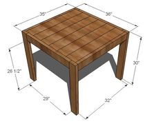 Simple to build square modern farm table. No pocket holes required. Seats just four, perfect for adding that rustic modern edge to your dining space. Free plans by ANA-WHITE.com. #anawhite #anawhiteplans #diy #diyfurniture #diningtable Modern Farmhouse Table, Modern Rustic, Farm Table Plans, Kitchen Table Makeover, Table For Small Space, Solid Wood Table, Square Tables, Diy Furniture, Ana White