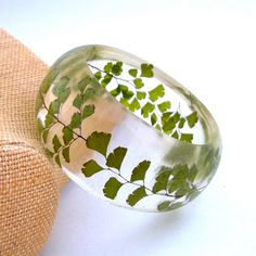 Fern Resin Bangle  Green Bangle Bracelet  by SpottedDogAsheville, $39.00