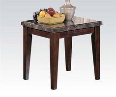 Danville Transitional Black Marble Walnut Wood End Table
