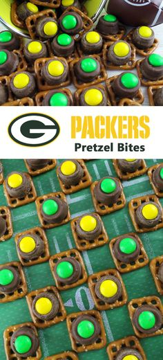 Our easy to make Green Bay Packers Pretzel Bites are yummy bites of sweet and salty Football Game Day goodness. They are perfect as a little extra treat at a NFL playoff party, a Super Bowl party or as a special dessert for the Green Bay Packers fan in your life. Follow us for more fun Super Bowl Food Ideas.
