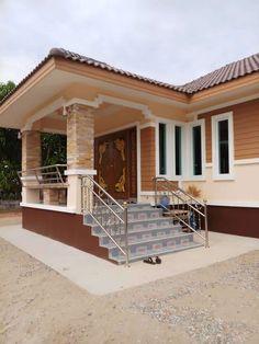 บ้านชั้นเดียวสไตล์คอนเทมโพรารี่ ขนาด 3 ห้องนอน พื้นที่ใช้สร้อย 88 ตรม Modern Bungalow House Design, Unique House Design, House Front Design, Minimalist House Design, Beautiful House Plans, Simple House Plans, House Layout Plans, House Layouts, Affordable House Plans