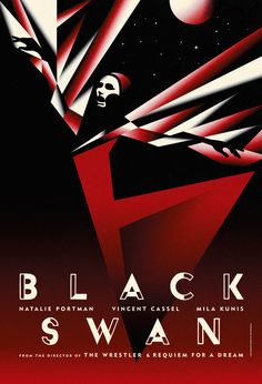 "Design firm La Boca created four stylized posters for ""Black Swan"". They're all alluring and intriguing, but there's something about the black and red schema here that makes this one stand out just a bit more for me."