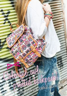 Street style with Achilleas accessories! Colorful Owl, Owl Print, Street Style, Backpacks, Printed, Bags, Accessories, Collection, Fashion