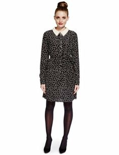 Limited Edition No Peep™ Pearl Effect Embellished Collar Spotted Shirt Dress - Marks & Spencer