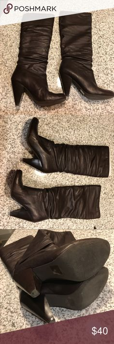 "8.5 Jessica Simpson Angie Brown leather boots Brown leather Jessica Simpson boots 3 1/2 "" heel in great condition well taken care of Jessica Simpson Shoes Heeled Boots"