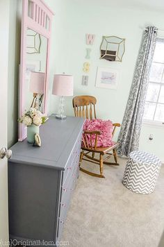 """Beautiful dresser transformation with chalk paint.  Love the gray and pink color combination, perfect for a """"big girl room!"""""""