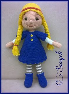 Samyelinin Örgüleri: Olivia Bebek See other ideas and pictures from the category menu…. Crochet Doll Clothes, Knitted Dolls, Crochet Dolls, Crochet Baby, Crochet Toys Patterns, Baby Knitting Patterns, Stuffed Toys Patterns, Hand Work Embroidery, Amigurumi Doll