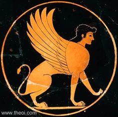 The Sphinx, a lion-woman   Greek vase, Athenian red figure kylix