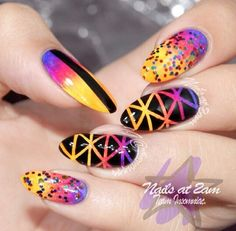 Colorful geometric nail design