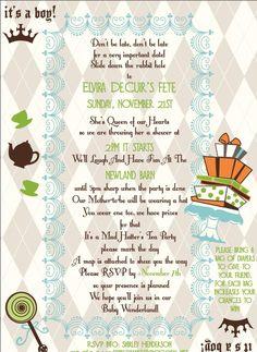 Mad Hatter Tea Party Baby Shower Invitation Wording Google