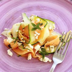 melon and zucchini vegetarian carpaccio - recipe thepetitecook.com