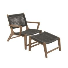 Modern black and wood outdoor lounge chair. Comfortable Set Of Two Wood Rope Outdoor Chair With Footrest
