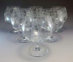 Sasaki Bamboo Brandy Glass Goblet Etched Bar Glasses 6 Mid Century  #Sasaki