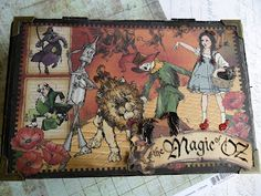 Altered Cigar box, Wizard of Oz theme with Graphic 45 papers