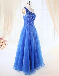 One Shoulder Sequins A Line Chiffon Blue Quinceanera Dress| OKmarket.com