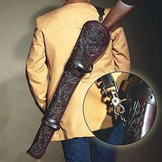 This Saddle and Back Rifle Scabbard is completely made from top grain leather and is made for carbines, lever action rifles & shotguns. Made for your rifles make model and barrel length includes a fully adjustable leather back sling and leather saddle strapping